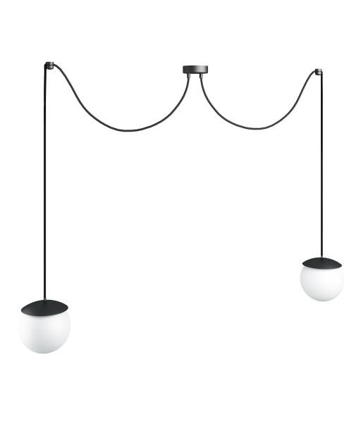 KUUL F podwójna czarna sufitowa lampa wisząca z regulowaną długością