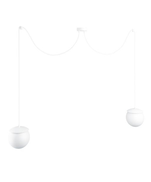 KUUL F podwójna biała sufitowa lampa wisząca z regulowaną długością