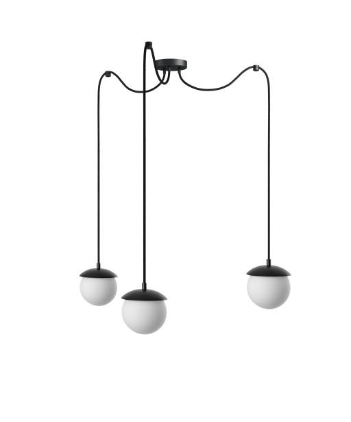 KUUL F potrójna czarna sufitowa lampa wisząca z regulowaną długością