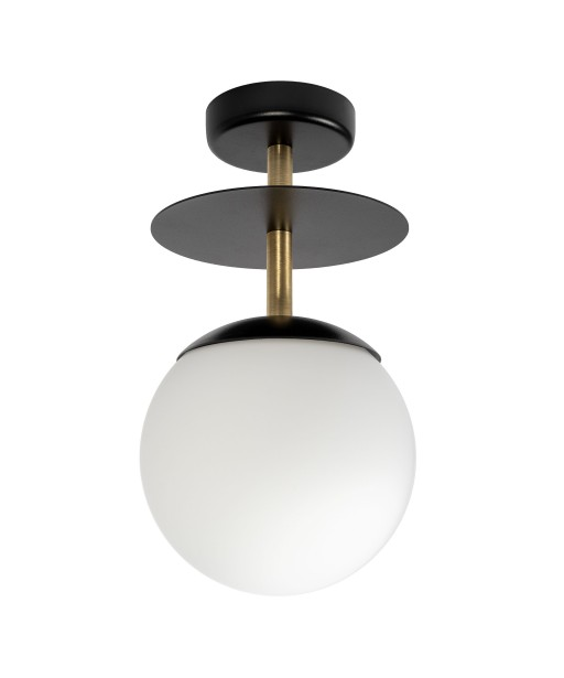 PLAAT B black ceiling lamp / plafond with brass