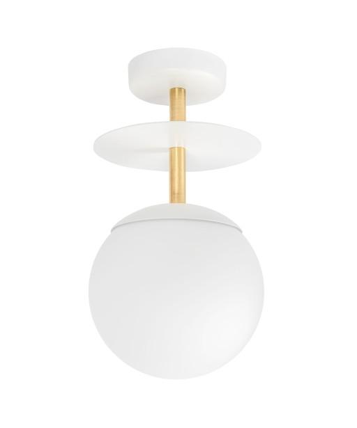 PLAAT B biała lampa przysufitowa / plafon z mosiądzem