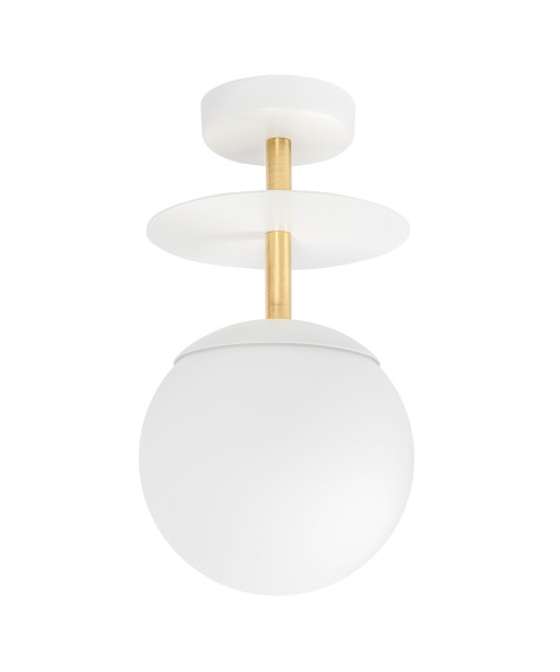 PLAAT B white ceiling lamp / plafond with brass