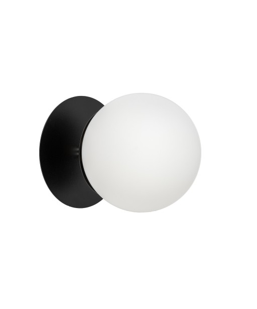 Black wall lamp PLAAT C black sconce with disk and glass shade UMMO