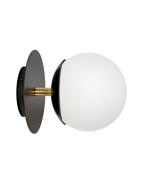PLAAT C black wall lamp / sconce with brass