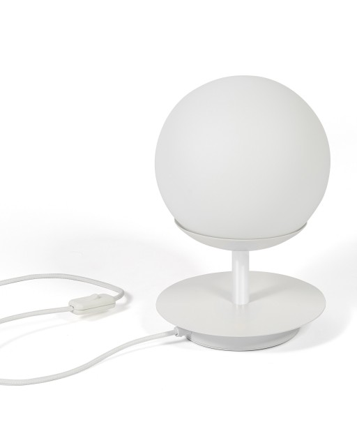 White table lamp PLAAT ST white standing lamp with disk and glass shade UMMO